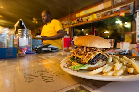 Delta has the best eats like this burger at Farmer's Grocery